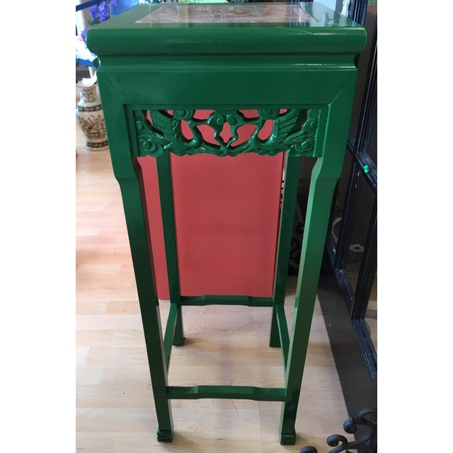Vintage Asian Rosewood Stand painted in a high gloss enamel Kelly green. Rose Italian Marble Inlay on top. Often used to...