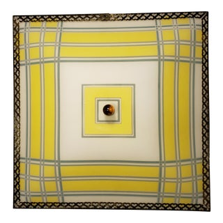 Mid-Century Plaid and Brass Ceiling Light For Sale