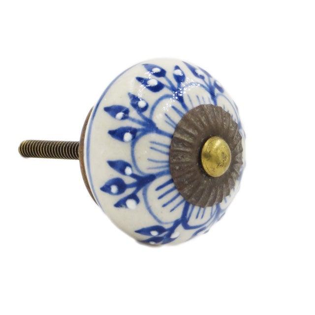 Blue Zinnia Flower Knobs - Set of 6 - Image 1 of 2