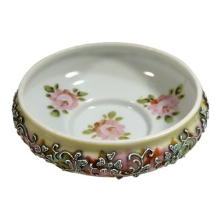 Antique Nippon Moriage Hand Painted Pink Roses Interior Petite Bowl For Sale