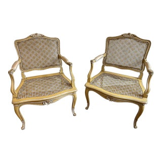 French Louis XV Cane Seat and Back Fauteuil Arm Chairs - a Pair For Sale