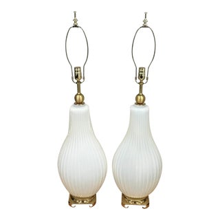 Barovier and Toso Large Opalescent Murano Glass Table Lamps - a Pair For Sale