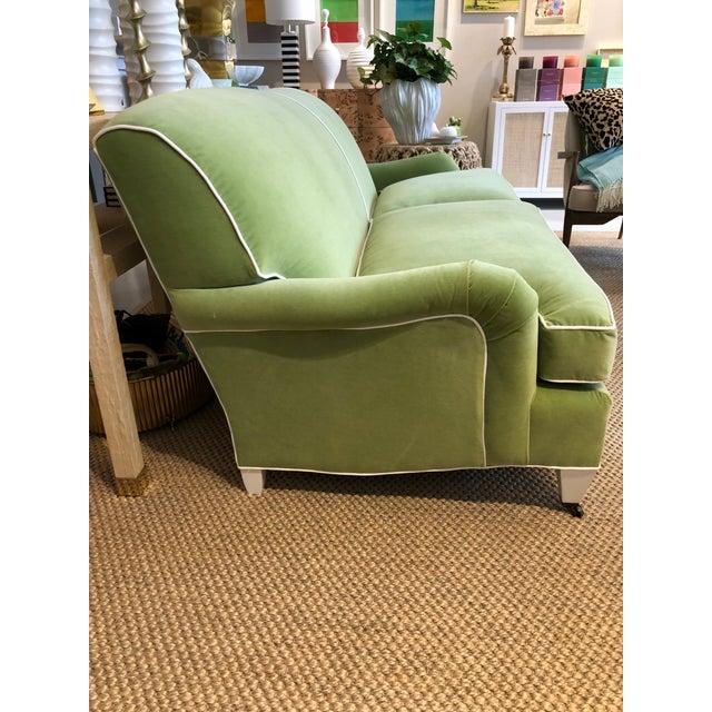 English Green Velvet Traditional English Arm Sofa For Sale - Image 3 of 6