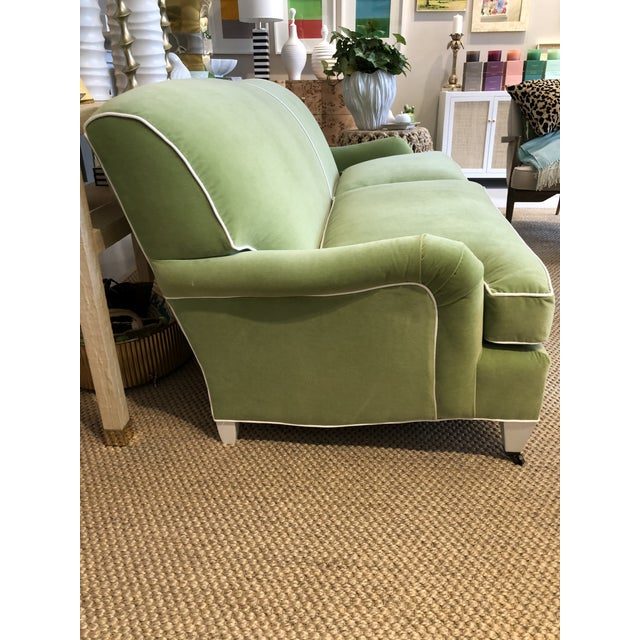 English Green Velvet Traditional Low Profile Arm Sofa For Sale - Image 3 of 6