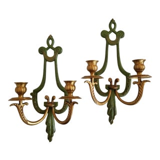 Vintage Mid-Century Brass & Green Sconces - Drapery Style Pair -Bard International India For Sale