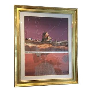 Vintage Harold Larsen Watercolor Abstract Landscape in Gilt Frame For Sale