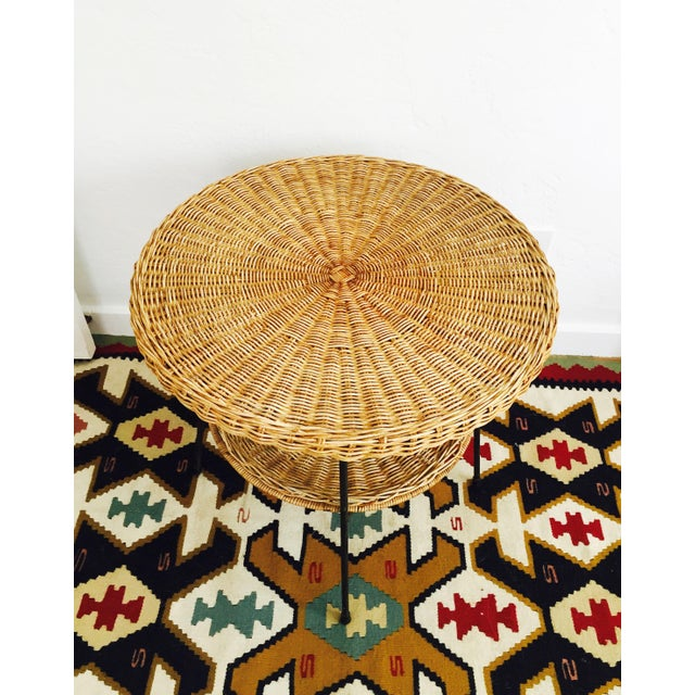 Mid Century Round Wicker Side Table on Metal Base - Image 3 of 10