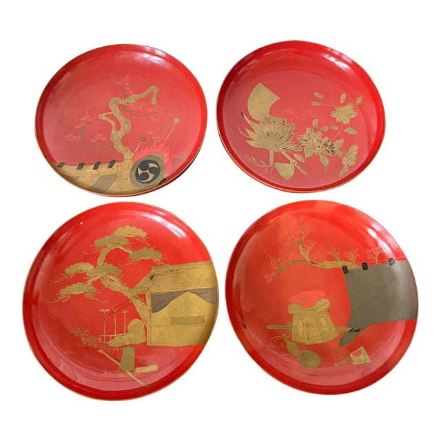 Japanese Maki-e Lacquered Pedestal Dishes - Set of 4 For Sale