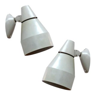 Pair of Kaiser Light Gray Enameled Metal Wall Lamps