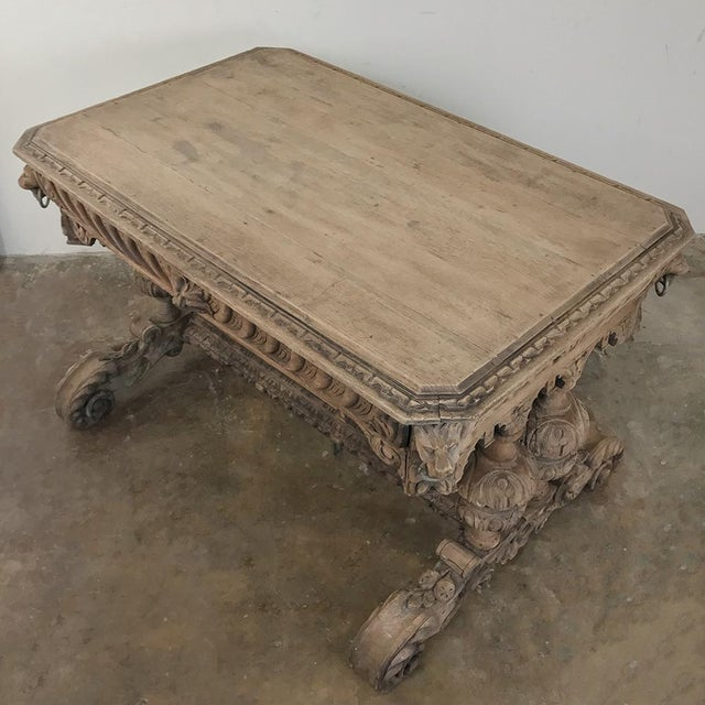 Gray 19th Century French Renaissance Writing Table For Sale - Image 8 of 13