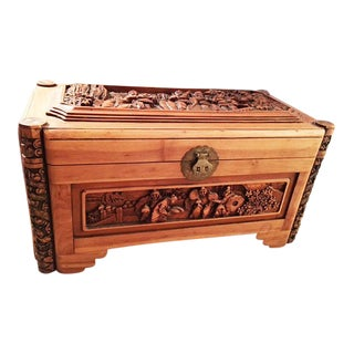 Wooden Carved Chinese Trunk For Sale
