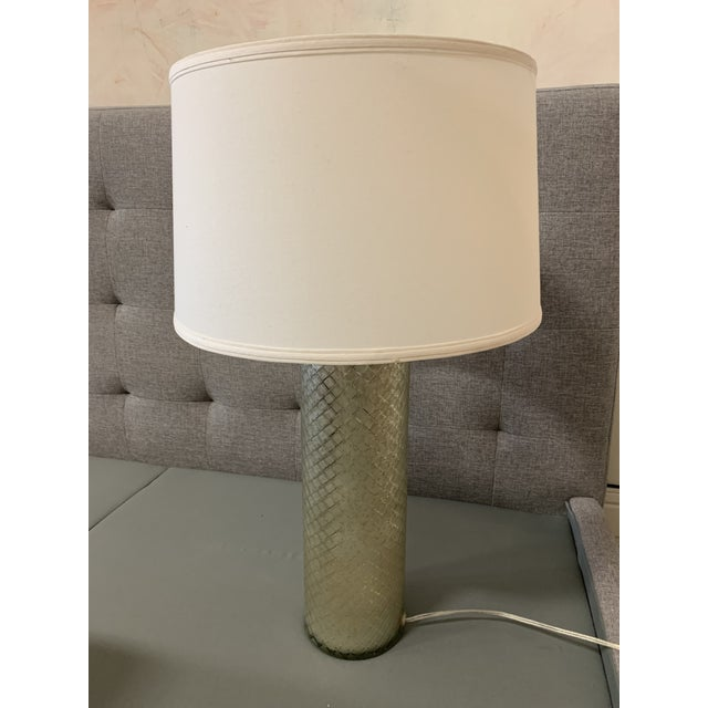 Ethan Allen Lattice Glass Table Lamp With Shade For Sale - Image 10 of 10
