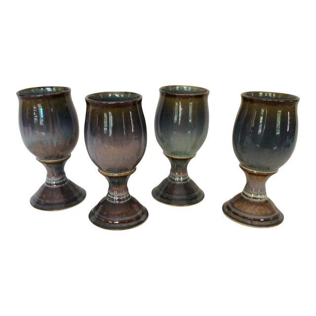 Blue & Purple Glazed Goblets - Set of 4 For Sale