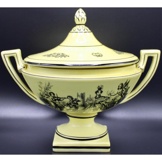 Mid 20th Century Italian Mottahedeh Yellow Handled Urn With Artichoke Lid For Sale - Image 13 of 13