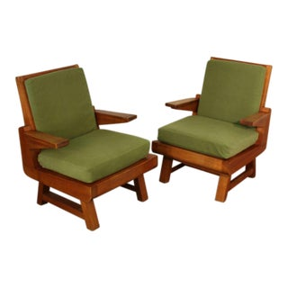 Pair of Heavy French Brutalist Oak Armchairs For Sale