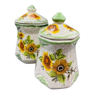 California Originals Sunflower Kitchen Canisters - Set of 2 For Sale
