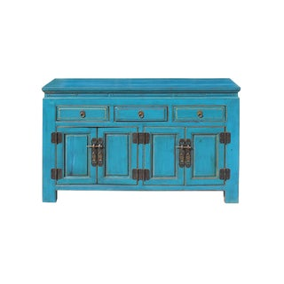 Oriental Distressed Rustic Teal Blue Lacquer Console Table Cabinet For Sale