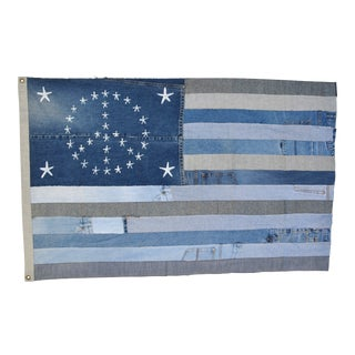 "Ralph Lauren Style Denim Patchwork American Peace Sign Flag Art Throw 58"" X 37"""
