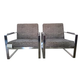 Pair of Pewter Metal Malone Chairs in Grey Leopard Print Fabric For Sale