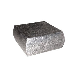 2010s Rustic Hammered Nickel Coffee Table - Small For Sale