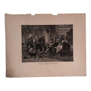 "Antique Great Men and Famous Women Print, ""Shakespeare Arrested for Deer Stealing"" Selmar Hess Publishers 1894 For Sale"