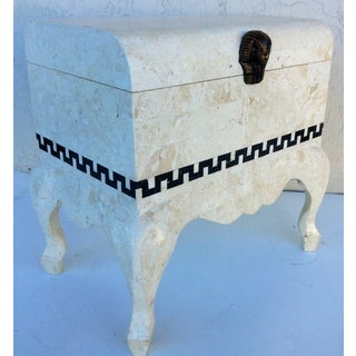 Vintage 1980's Maitland Smith Tessellated Footed Standing Chest With Greek Key Design Preview