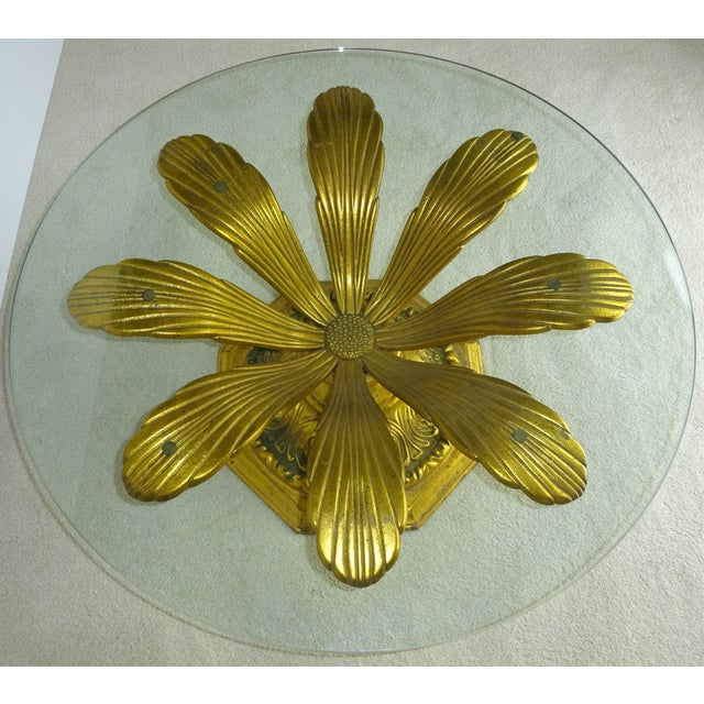 Cast Gilt Aluminum Sunflower Table with Glass Top For Sale - Image 5 of 11