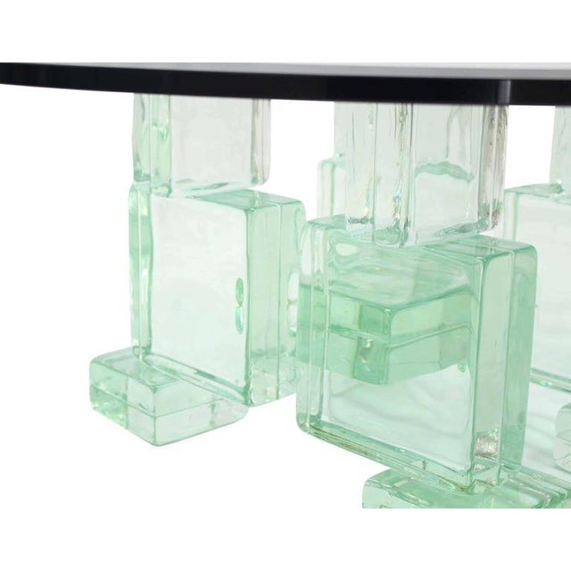 Mid-Century Modern Solid Glass Blocks Glass Top Coffee Table For Sale - Image 3 of 9