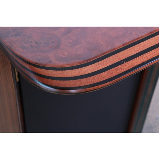 Wood Afra and Tobia Scarpa for B&B Italia Rosewood, Burl and Leather Desk, 1970s For Sale - Image 7 of 13