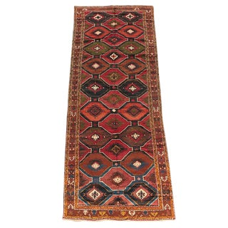 "Antique Caucasian Karabaugh / Kazak Rug 4'7"" X 12'2"" Circa 1920's For Sale"