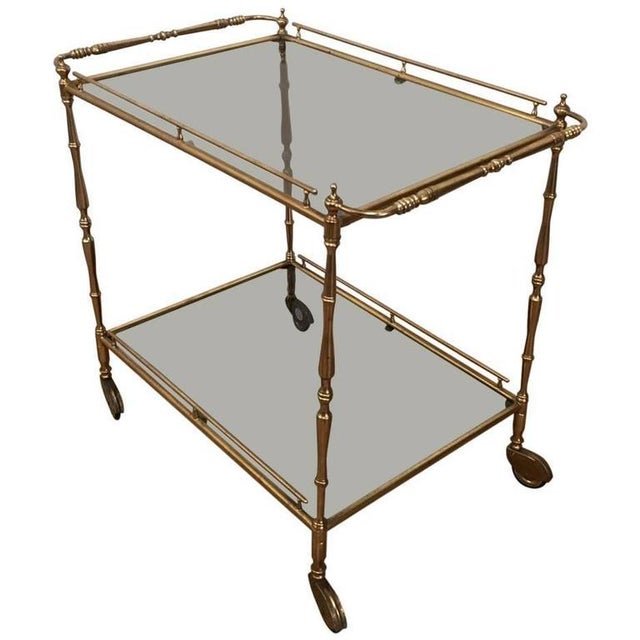 Brass 1960s French Brass and Glass Rolling Cart For Sale - Image 7 of 7