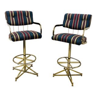 Mid Century Modern Brass Bar Stools - a Pair For Sale