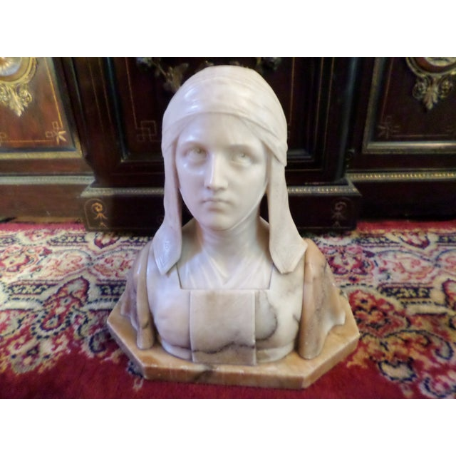 Antique Italian Alabaster Bust of Woman For Sale - Image 13 of 13