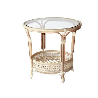 Pelangi Handmade White Wash Rattan Wicker With Glass Top Round Coffee Table For Sale