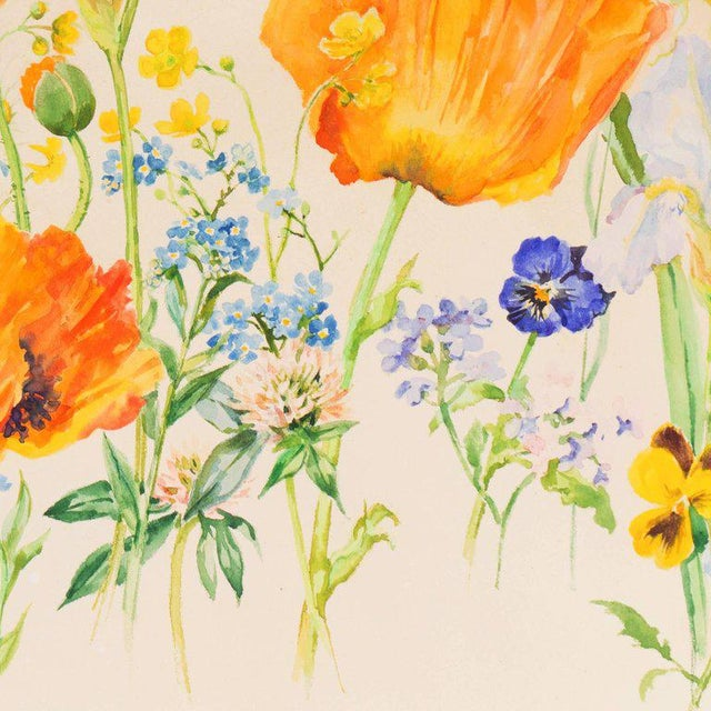 Watercolor Grand Duchess Olga Alexandrovna Spring Flowers Circa 1935 For Sale - Image 7 of 9