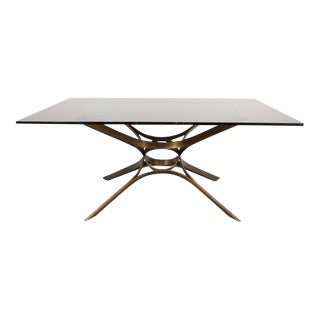 Mid-Century Cocktail Table in Bronze and Glass by Roger Sprunger for Dunbar