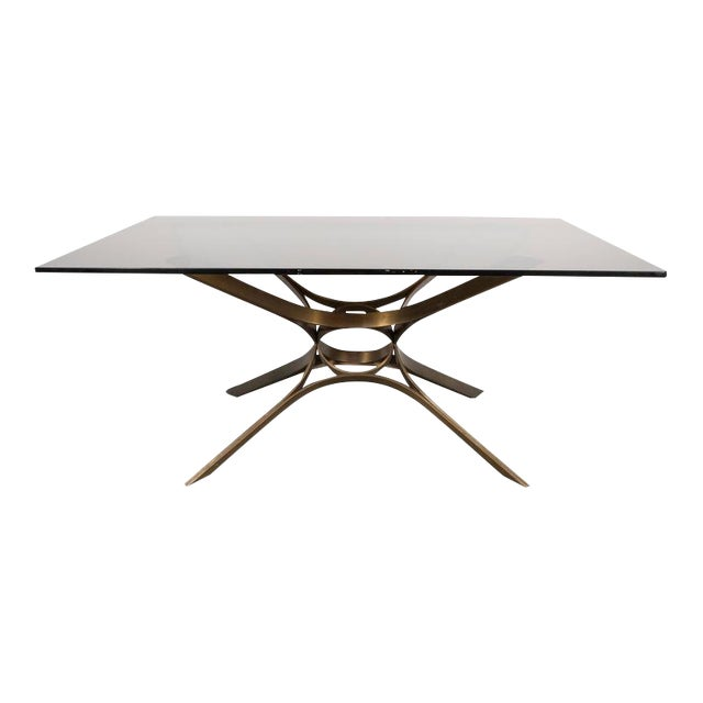 Mid-Century Cocktail Table in Bronze and Glass by Roger Sprunger for Dunbar For Sale