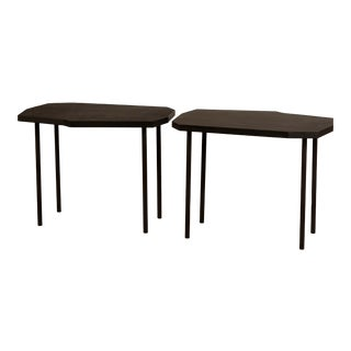 Pair of Asymmetrical 'Décagone' Black Leather Side Tables by Design Frères For Sale