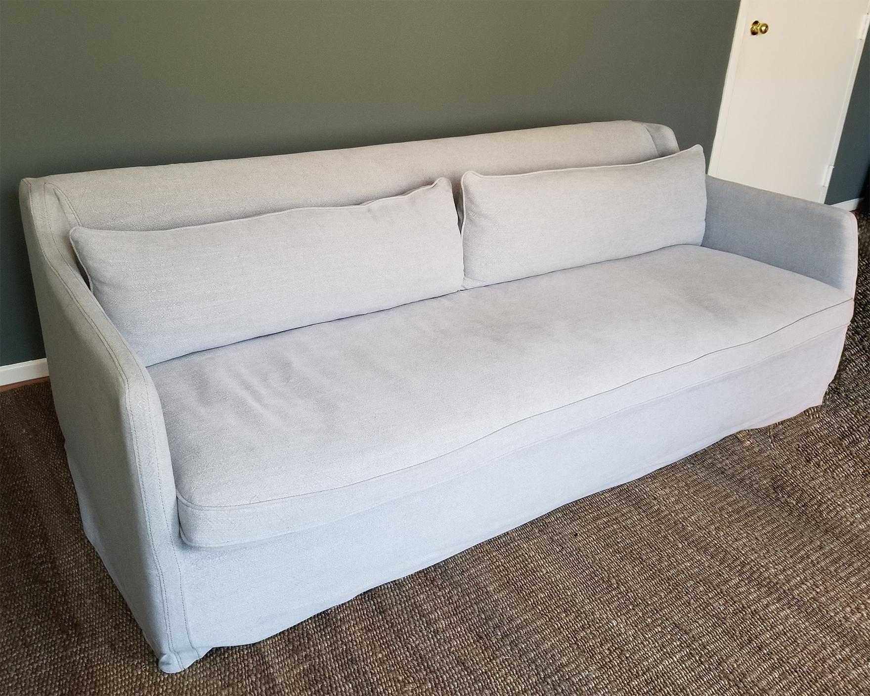 Four Hands Pewter Grey Linen Slipcover Sofa   Image 4 Of 9