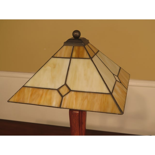 Stickley Arts & Crafts Mission Oak Stained Glass Table Lamp - Image 2 of 7