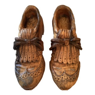 1960s Hand Carved Wood Golf Shoes Sculptures - a Pair For Sale