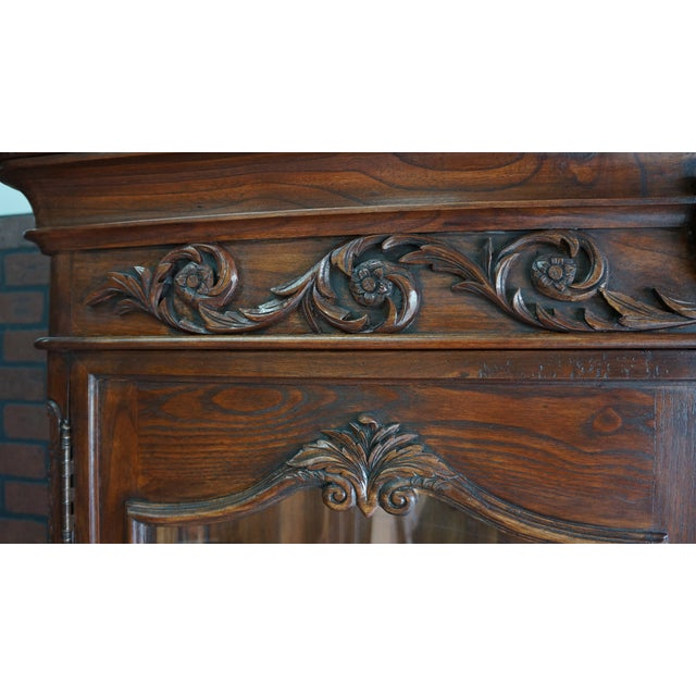 English Traditional French Provincial Display Cabinet Hutch For Sale - Image 3 of 11