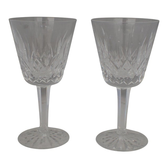 """Waterford Crystal """"Lismore"""" Wine Glasses - A Pair   Chairish"""