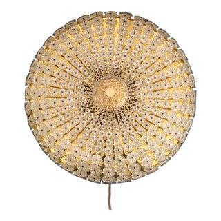 Large Emil Stejnar Attributed Floral Glass Flush Mount