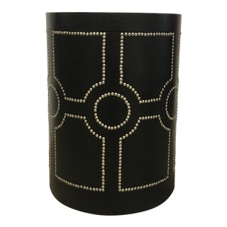 Modern Black Leather Global Views Storage Side Table For Sale