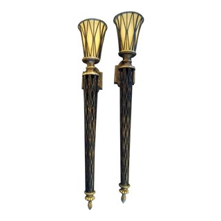 A Pair of Massive Tall Wrought Iron Wall Torchiere Sconce Lights For Sale