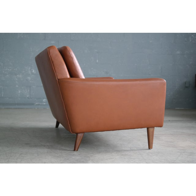 Danish Mid-Century Sofa In Cognac Leather For Sale - Image 4 of 10