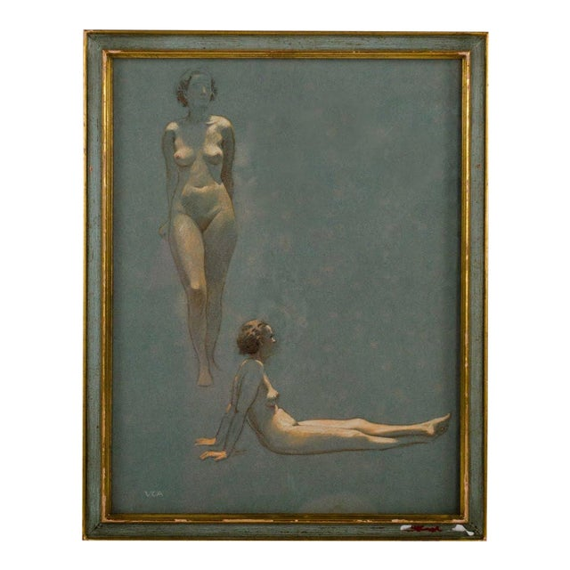 Original Nude Figures Pastel Drawing on Paper by Victor Coleman Anderson For Sale