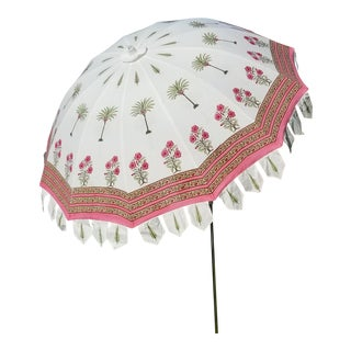Taj Block Print Garden Umbrella For Sale