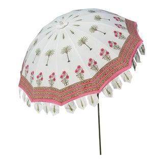 Taj Block Print Garden Umbrella For Sale